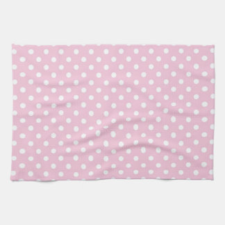 Polka dots on sweet pink background kitchen towel