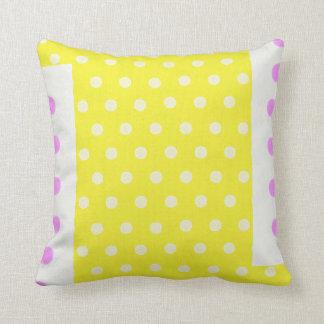 Polka dots on yellow background throw pillow