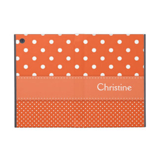 Polka dots orange custom girls name mini ipad case