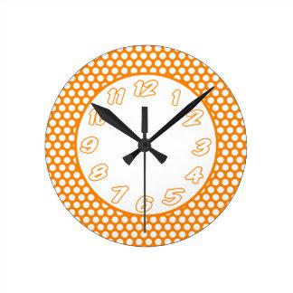 Polka Dots- Orange & White Round Clock