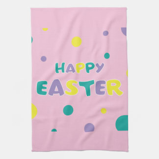 Polka Dots Pastel Pink Happy Easter Kitchen Towel