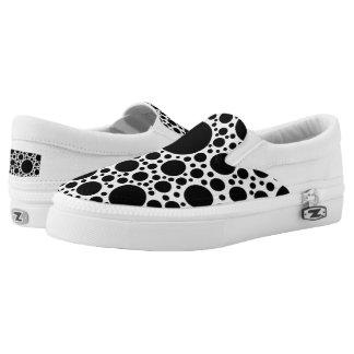 Polka Dots pattern black + your backgr. & ideas Slip-On Sneakers