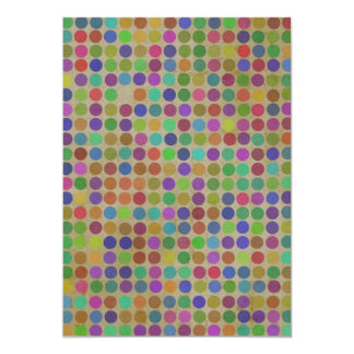 "Polka Dots Pattern Fashion Vintage Retro Colors 5"" X 7"" Invitation Card"