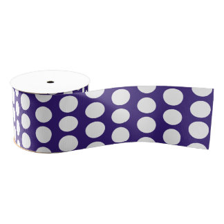 Polka dots pattern on ultra violet grosgrain ribbon