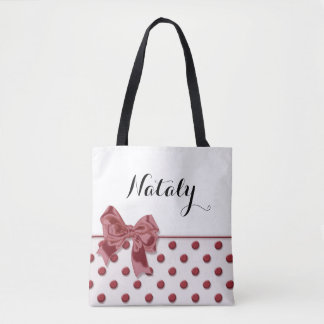 Polka dots pattern with bow. monogram. tote bag