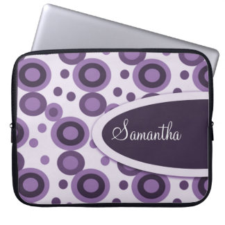 Polka Dots Personalized Laptop Sleeve:Lavender Laptop Sleeve
