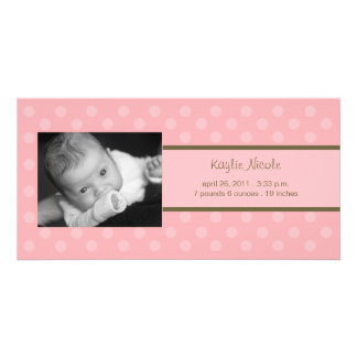 Polka Dots Photo Card Birth Announcement