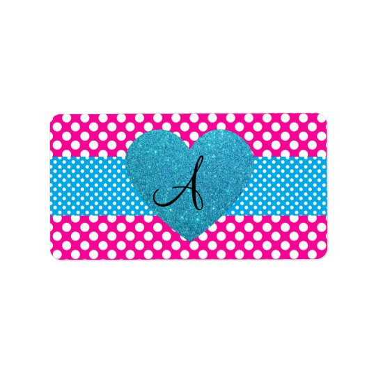 Polka dots pink and white monogram label
