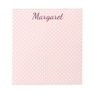 Polka Dots Pink and White Notepad
