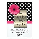 polka dots pink daisy Graduation photo Invites