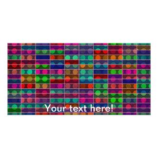 Polka dots rectangles abstract design photo cards