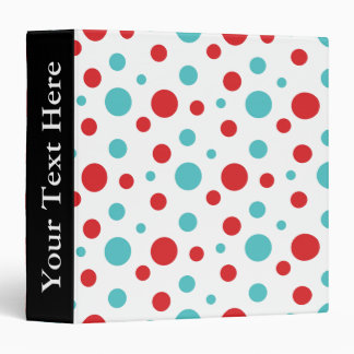 Polka Dots Red and Blue 3 Ring Binder