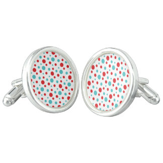Polka Dots Red and Blue Cuff Links