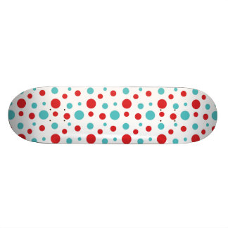 Polka Dots Red and Blue Custom Skateboard
