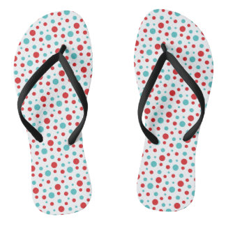 Polka Dots Red and Blue Flip Flops