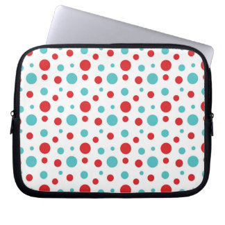 Polka Dots Red and Blue Laptop Sleeve