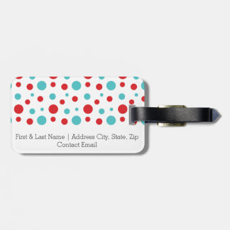 Polka Dots Red and Blue Luggage Tag