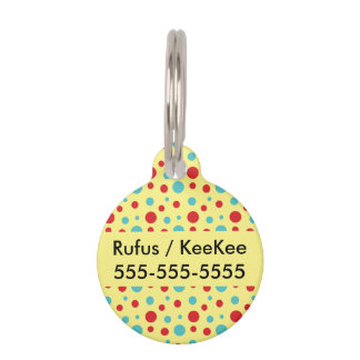 Polka Dots Red and Blue Pet ID Tag