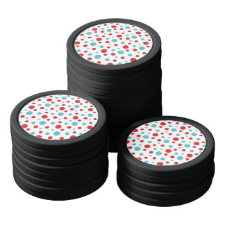 Polka Dots Red and Blue Poker Chips