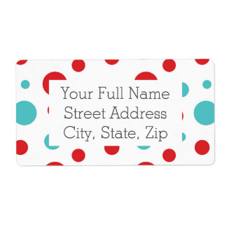 Polka Dots Red and Blue Shipping Label