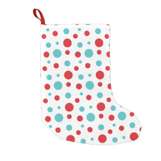 Polka Dots Red and Blue Small Christmas Stocking