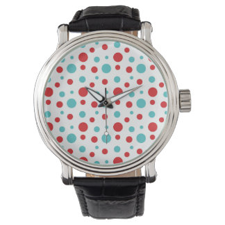Polka Dots Red and Blue Watch