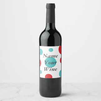 Polka Dots Red and Blue Wine Label