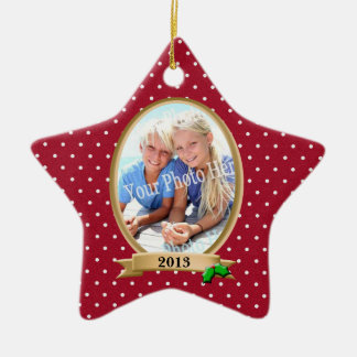 Polka Dots Red and Holly Photo Frame Ceramic Ornament