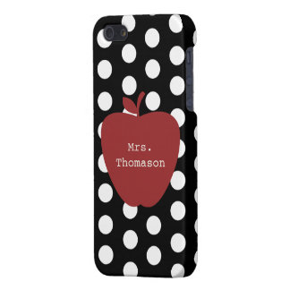 Polka Dots + Red Apple Teacher iPhone 5/5S Case
