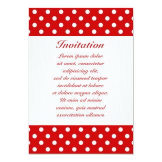 "Polka Dots Red + Custom Color 5"" X 7"" Invitation Card"