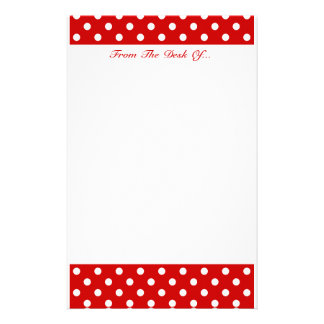 Polka Dots Red + Custom Color Stationery