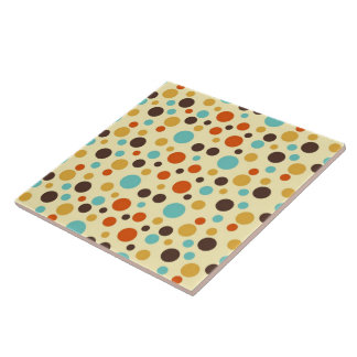 Polka Dots Retro Colours Blue Yellow Red Ceramic Tile