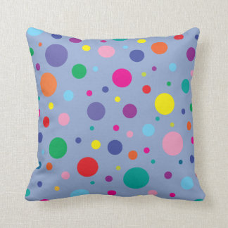 Polka Dots | Serenity Blue | Change BG color Throw Pillow