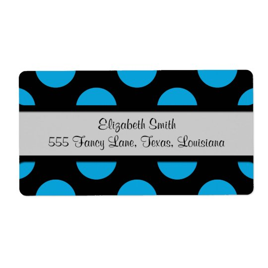Polka Dots, Spots (Dotted Pattern) - Blue Black Shipping Label