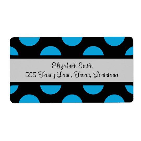 Polka Dots, Spots (Dotted Pattern) - Blue Black Shipping Label