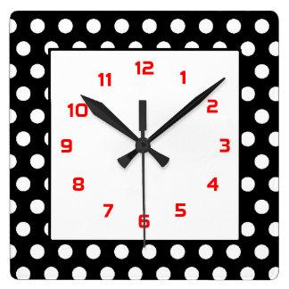 Polka Dots Squared- Black, White & Red Square Wall Clock