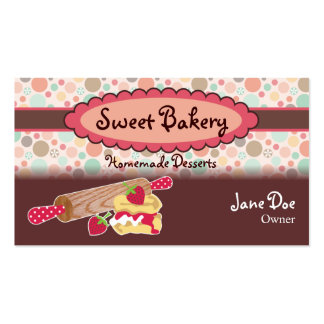 Polka Dots Strawberry Scone Business Cards