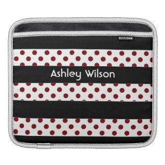 polka dots stripes black and white personalized iPad sleeves