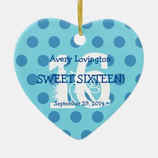 Polka Dots Sweet 16 Birthday V06 AQUA and BLUE Ceramic Heart Ornament