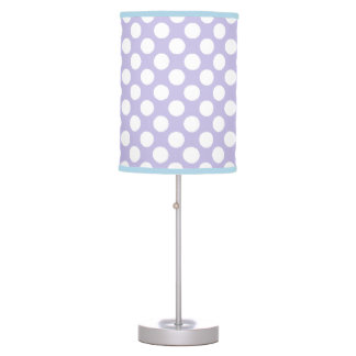 Polka Dots Table Lamp - White on Lavender