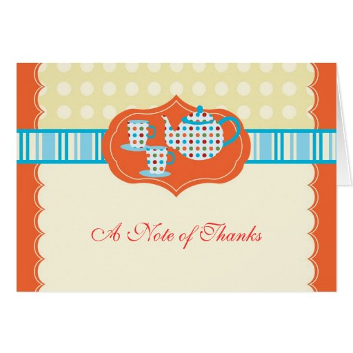 Polka Dots Tea Pot Thank You Card