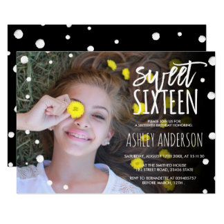 Polka dots watercolor typography photo Sweet 16 Card