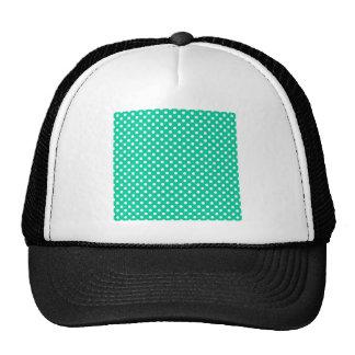 Polka Dots - White on Caribbean Green Hats