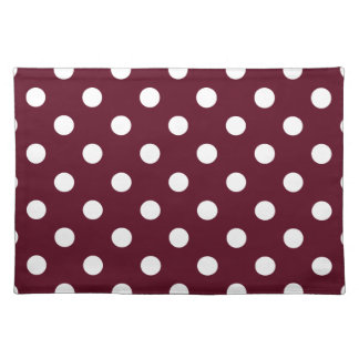 Polka Dots - White on Dark Scarlet Place Mat