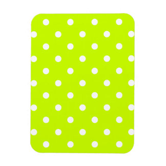 Polka Dots - White on Fluorescent Yellow Rectangular Photo Magnet