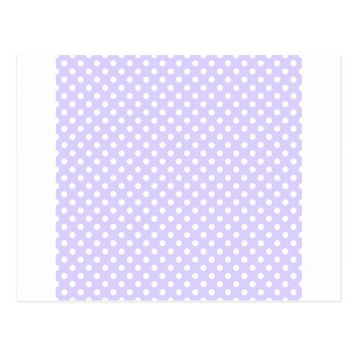 Polka Dots - White on Pale Lavender Postcard