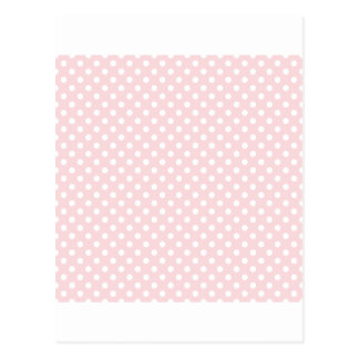 Polka Dots - White on Pale Pink Postcards