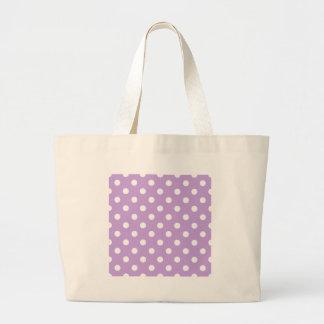 Polka Dots - White on Wisteria Large Tote Bag