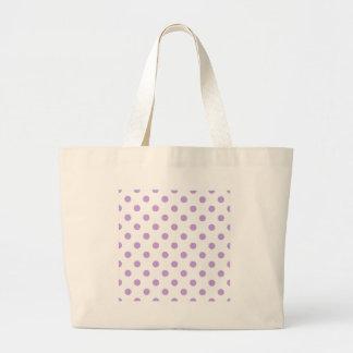 Polka Dots - Wisteria on White Large Tote Bag