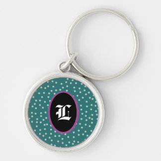 Polka dots with customizeable Initial Silver-Colored Round Keychain
